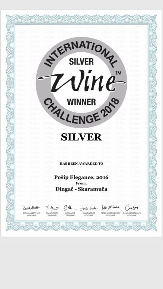 Wine Challenge 2018, London – srebrna medalja za Pošip Elegance